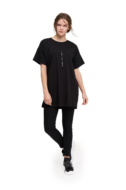 MIZALLE YOUTH Basic T-Shirt (Siyah)