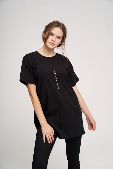 MIZALLE YOUTH - Basic T-Shirt (Siyah) (1)