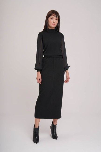 MIZALLE - Basic Tricot Skirt (Black) (1)