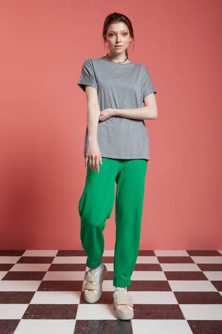 Mizalle - Basic T-Shirt (Gri)