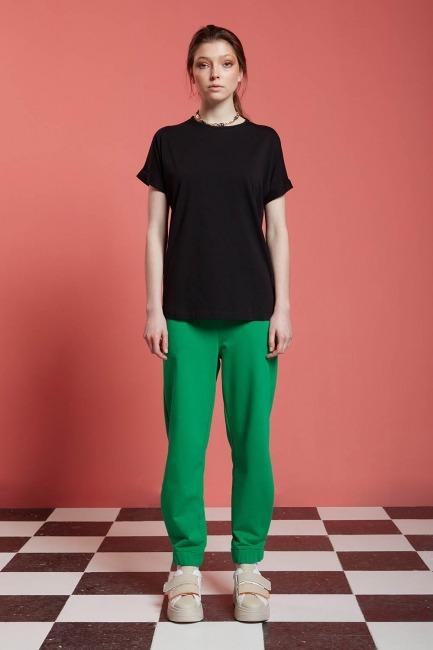 Mizalle - Basic T-Shirt (Siyah)