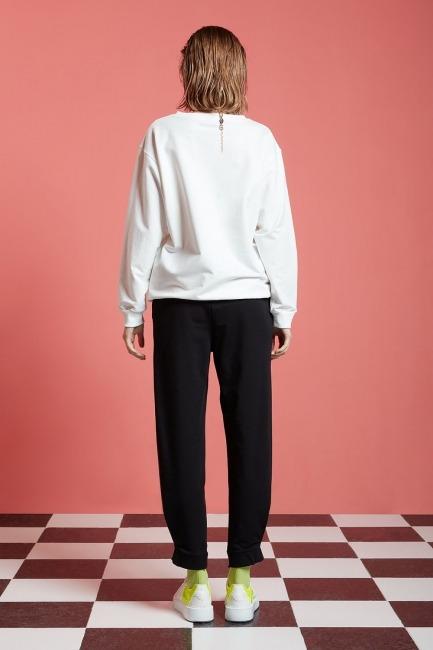 Basic Uzun Kollu Sweatshirt (Ekru) - Thumbnail