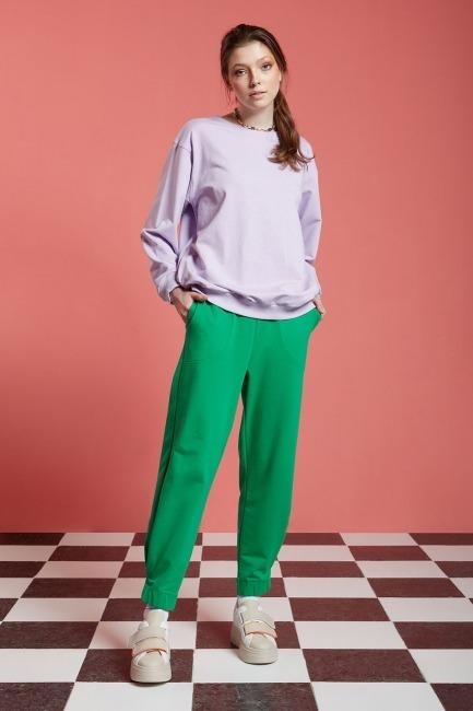 Mizalle - Basic Uzun Kollu Sweatshirt (Lila)