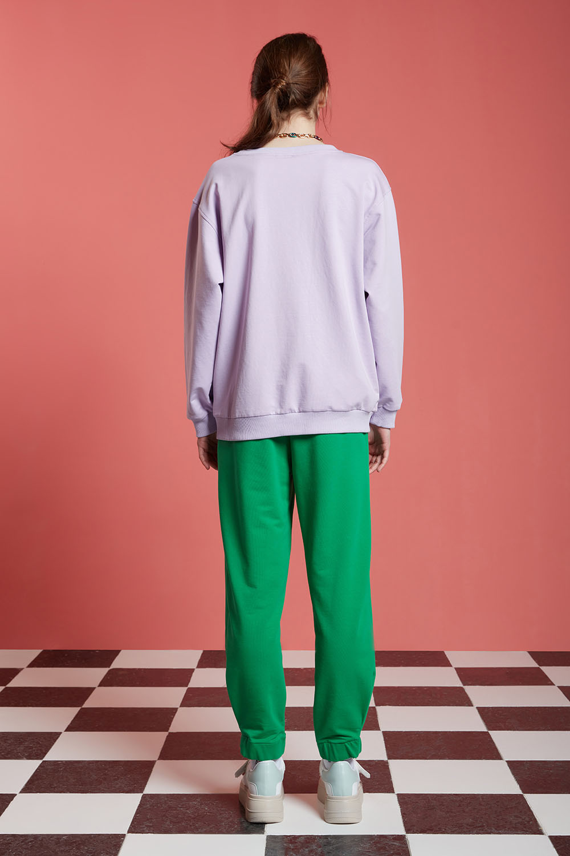 Basic Uzun Kollu Lila Sweatshirt