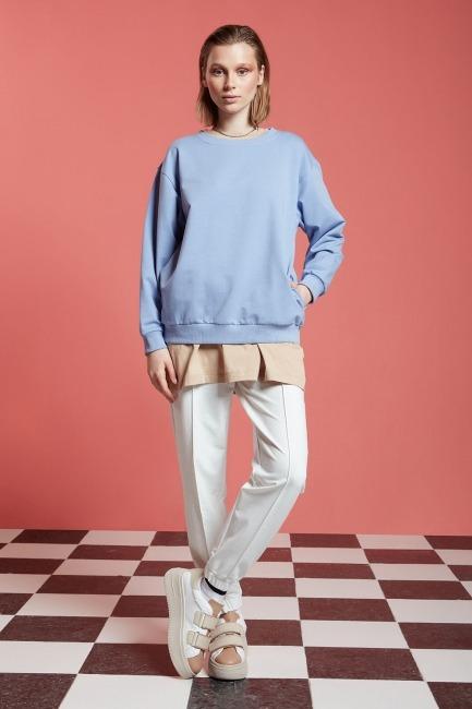 Mizalle - Basic Uzun Kollu Sweatshirt (Mavi)