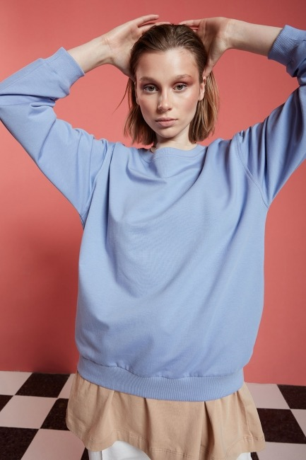 Basic Uzun Kollu Sweatshirt (Mavi) - Thumbnail