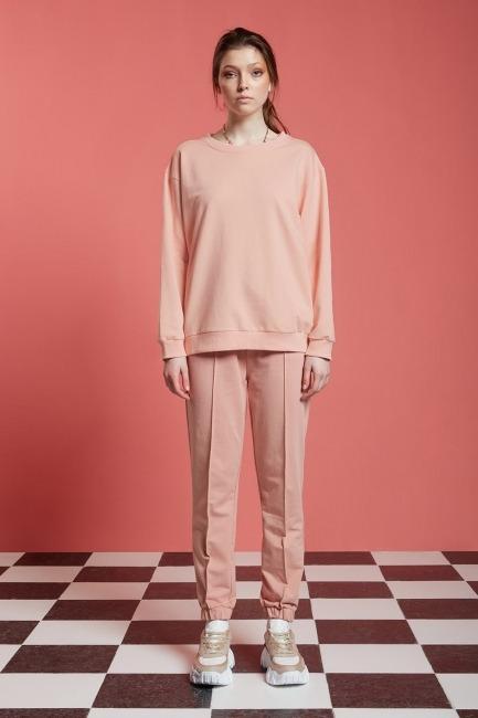 Mizalle - Basic Uzun Kollu Sweatshirt (Nude)