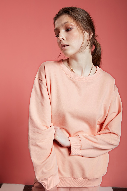 Basic Uzun Kollu Nude Sweatshirt