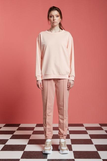 Mizalle - Basic Uzun Kollu Sweatshirt (Pudra)