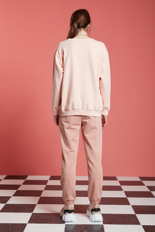Basic Uzun Kollu Pudra Sweatshirt