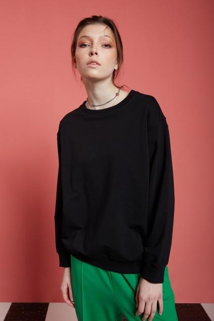Basic Uzun Kollu Sweatshirt (Siyah) - Thumbnail