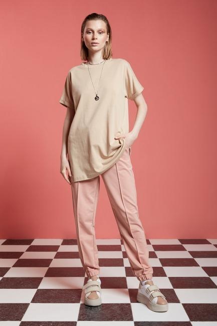 Mizalle - Basic Uzun T-Shirt (Bej)