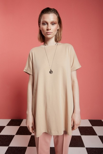 Basic Uzun T-Shirt (Bej) - Thumbnail