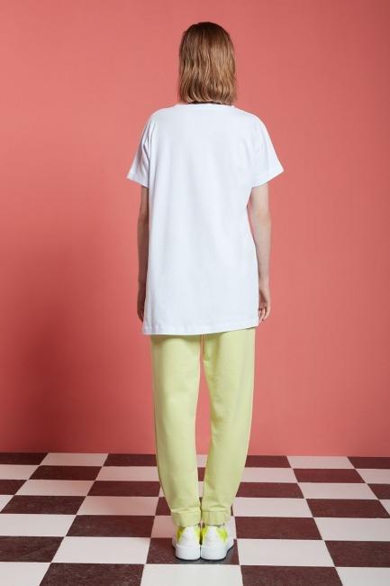 Basic Uzun T-Shirt (Beyaz) - Thumbnail