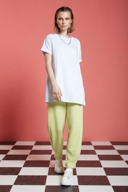 Mizalle - Basic Uzun T-Shirt (Beyaz)