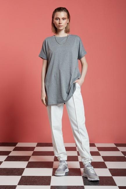 Mizalle - Basic Uzun T-Shirt (Gri)