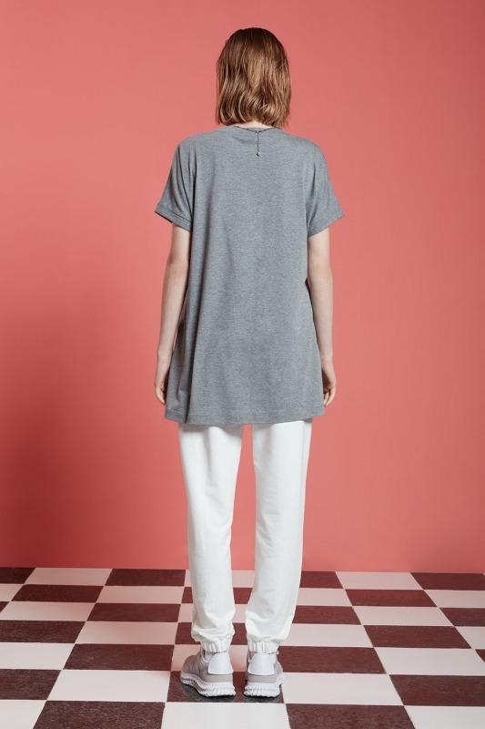 Basic Uzun T-Shirt (Gri)
