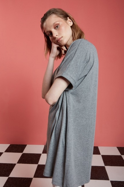 Basic Uzun T-Shirt (Gri) - Thumbnail