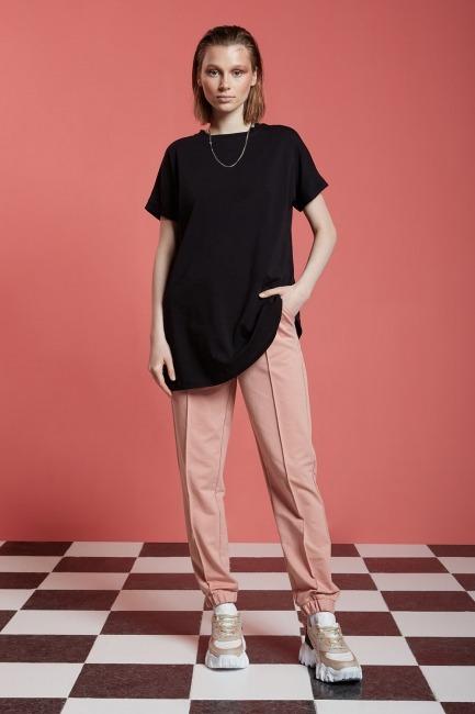 Mizalle - Basic Uzun T-Shirt (Siyah)
