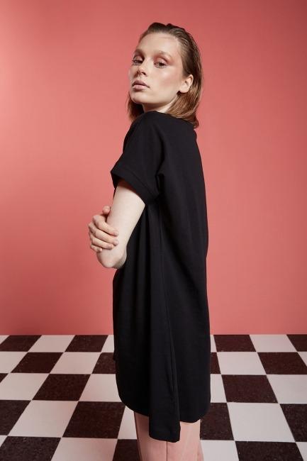 Basic Uzun T-Shirt (Siyah) - Thumbnail