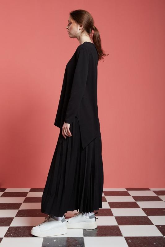 Basic Yanı Yırtmaçlı Tunik (Siyah)