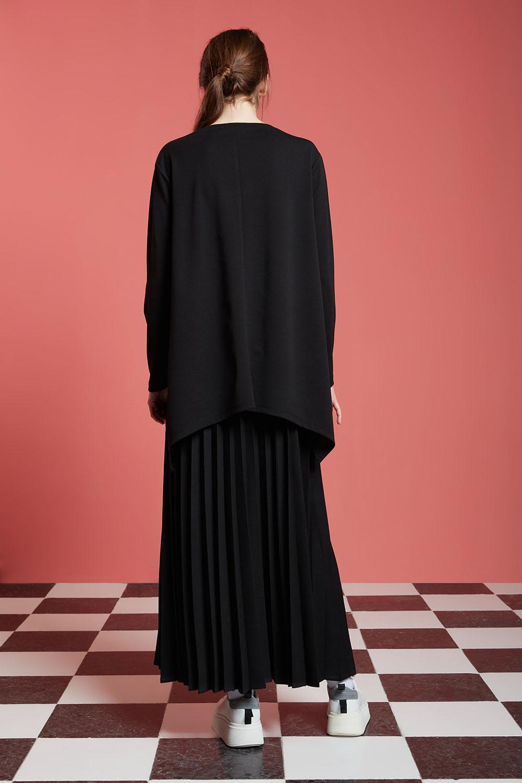 Basic Yanı Yırtmaçlı Siyah Tunik