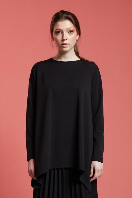 Basic Yanı Yırtmaçlı Tunik (Siyah) - Thumbnail