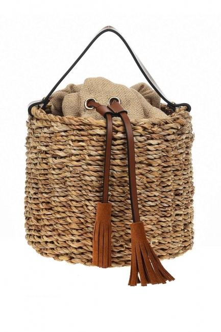 MIZALLE - سترو حقيبة يد في شكل سلة (البيج) (1)