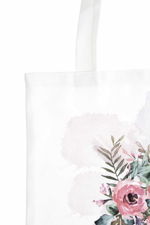 MIZALLE Baskılı Bez Çanta (Çiçek) (1)