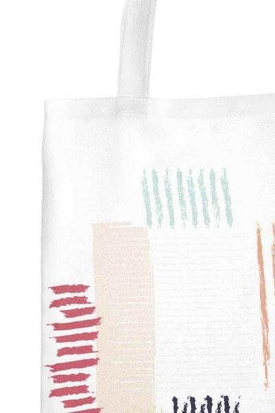 MIZALLE - Baskılı Bez Çanta (Çizgiler) (1)