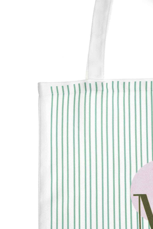 MIZALLE Baskılı Bez Çanta (Yeşil Şeritli) (1)