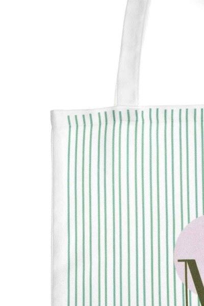 MIZALLE - Baskılı Bez Çanta (Yeşil Şeritli) (1)