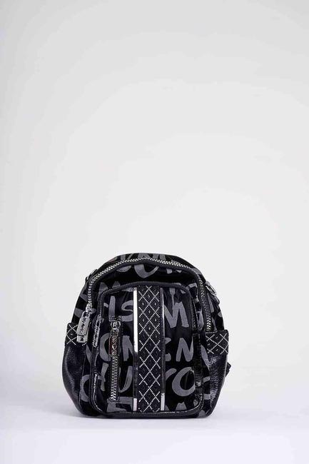 Baskılı Fermuarlı Sırt Çantası (Siyah) - Thumbnail