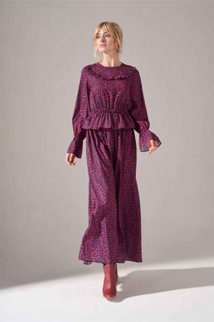 Baskılı Fırfır Detaylı Elbise (Mercan) - Thumbnail