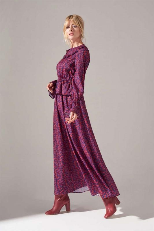Baskılı Fırfır Detaylı Elbise (Mercan)