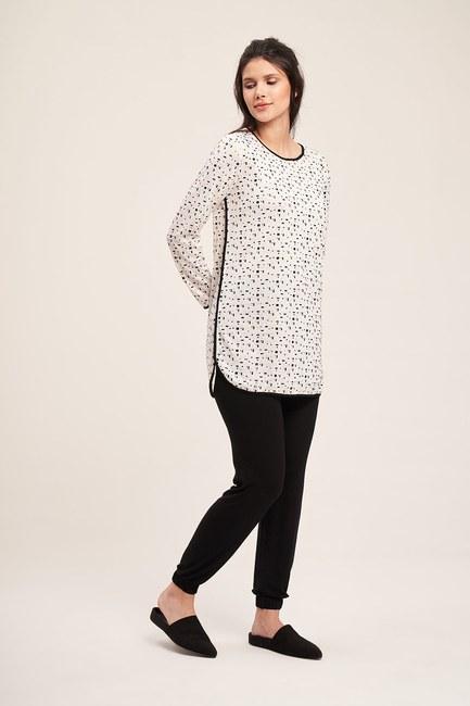 Mizalle - Baskılı Pijama Takımı (Siyah)