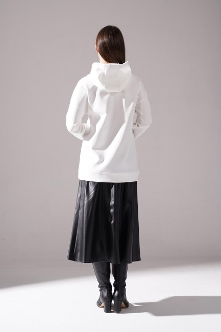 Baskılı Scuba Sweatshirt (Siyah) - Thumbnail