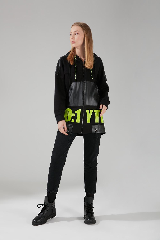 Baskılı Siyah Sweatshirt