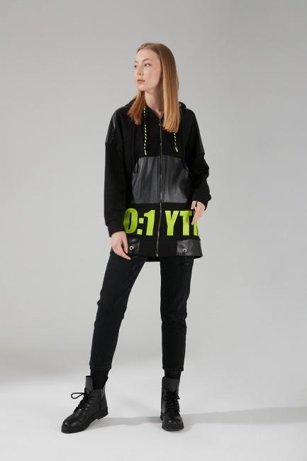 Baskılı Sweatshirt (Siyah) - Thumbnail
