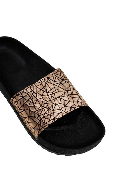 MIZALLE - Soft Sole Slippers (Gold) (1)