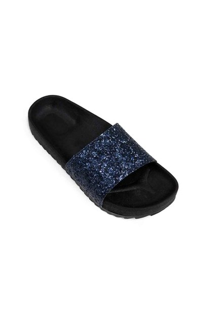 MIZALLE Soft Sole Slippers (Navy Blue Sequins)