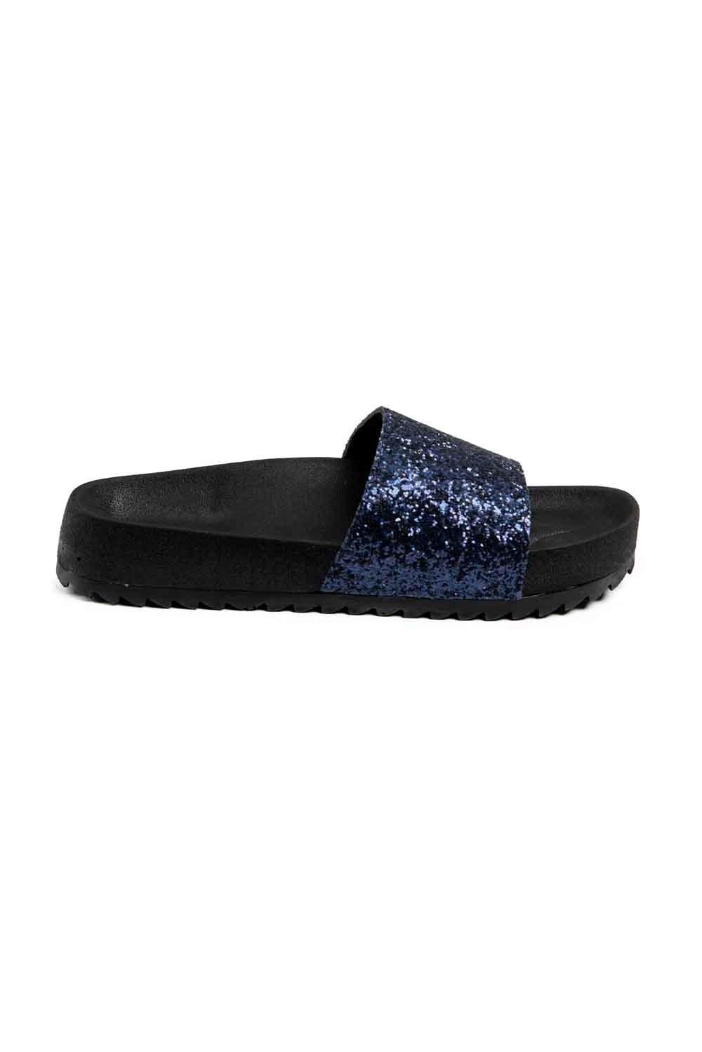 MIZALLE Soft Sole Slippers (Navy Blue Sequins) (1)