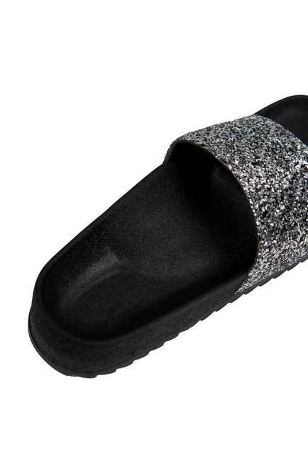 Soft Sole Slippers (Platinum Sequin) - Thumbnail