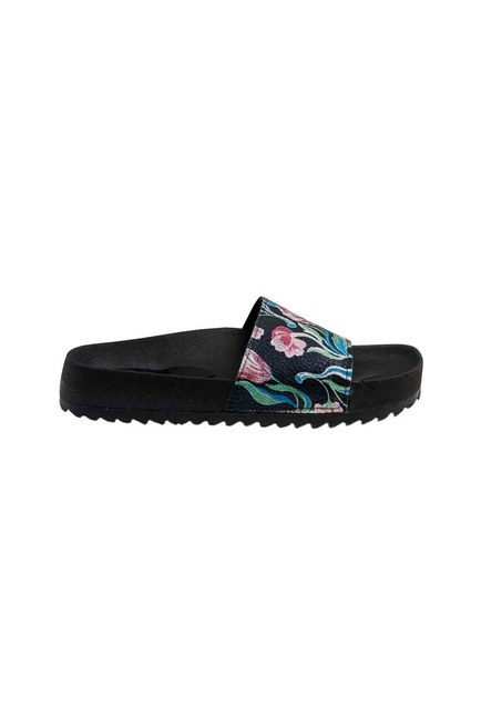 Printed Soft Sole Slippers (Black/White) - Thumbnail