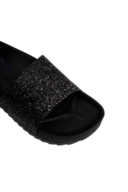 Soft Sole Slippers (Black Sequins) - Thumbnail
