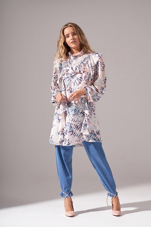 Batik Desenli Bluz (Somon)