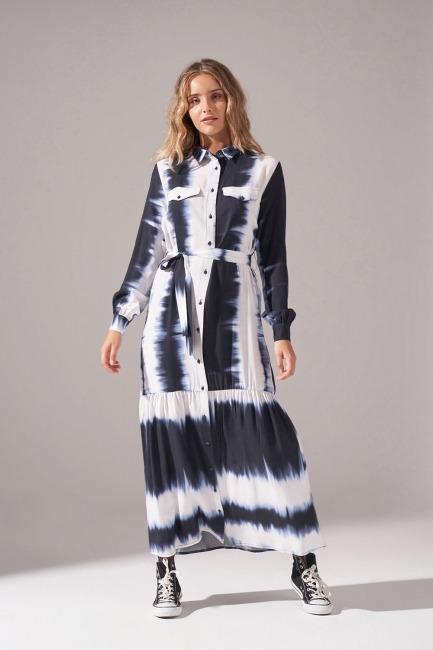 Mizalle - Batik Desenli Cepli Elbise (Lacivert)