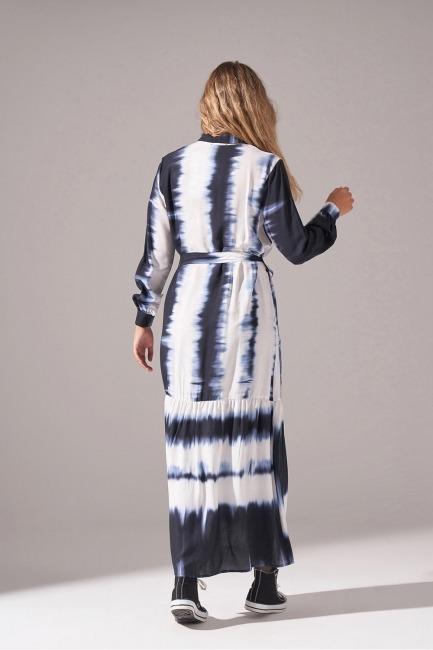 Batik Desenli Cepli Elbise (Lacivert) - Thumbnail