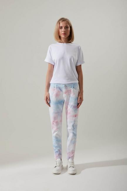 Mizalle - Batik Desenli Denim Pantolon