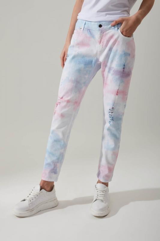 Batik Desenli Denim Pantolon
